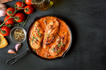 Stewed chicken breast with tomato sauce