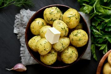 Tasty new boiled potatoes