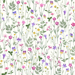 decorative seamless floral pattern with meadow flowers