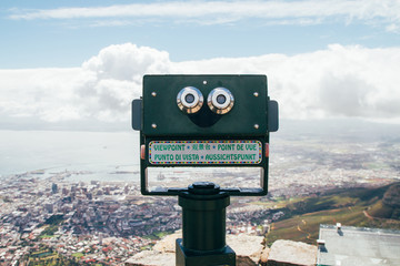 Tourist telescope on top of Table Mountain, Cape Town, South Africa