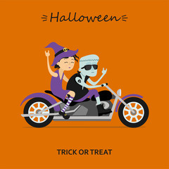 Halloween greeting card. Witch and Frankenstein ride the motorcycle. Vector illustration