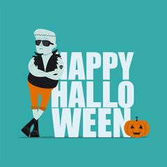 Halloween greeting card. Frankenstein and inscription Happy Halloween. Vector illustration
