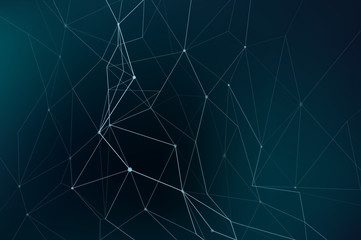 Abstract vector illustration with network themed connected dots with lines and polygonal shapes on dark bakcground
