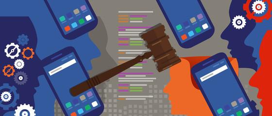 information technology internet digital justice law verdict case legal gavel wooden hammer crime court auction symbol