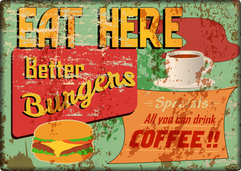 grungy diner sign, retro style, vector illustration