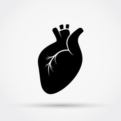 Black silhouette of heart vector icon.