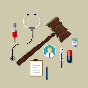 medical law wooden hammer gavel justice legal authority case verdict law suit