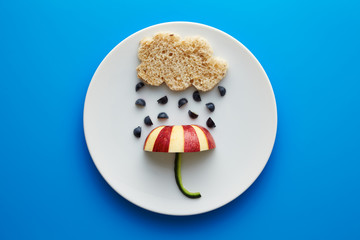 Food for kids - funny cloud and umbrella