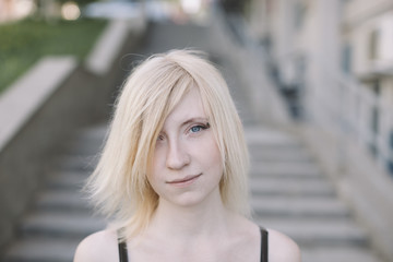 portrait of cute girl on the street