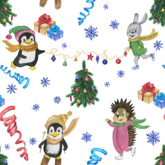 Watercolor painting seamless pattern with cute animals and christmas decorations