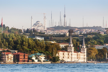 Construction of Camlica mosque, the biggest in Turkey, view from Bosphorus Strait of the sea
