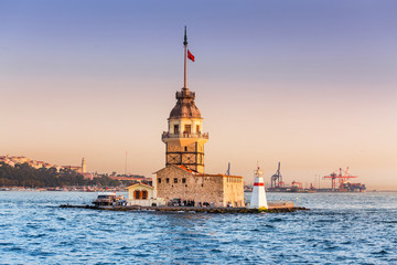 Maiden Tower at sunset, view from ferry boat of bosphorus sea cruise
