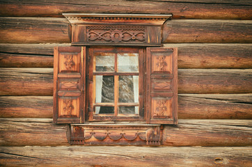 Window in a traditional Russian style