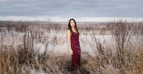 asian girl in field of frost