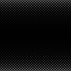 Geometric halftone dot pattern background - vector graphic with circles in varying sizes on black background