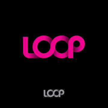 Pink logo. loop logo. Pink ribbon loop logo on dark background.