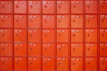 Bright red letter boxes