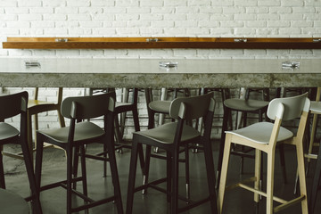 Counter and chairs at the bar
