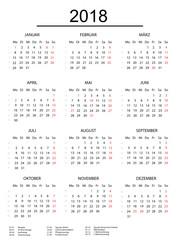 Kalender 2018 mit einer Linie