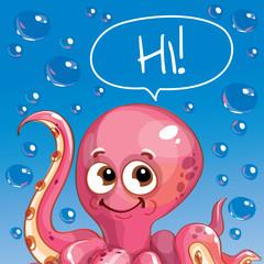 Vector illustration of cartoon octopus. Hi.