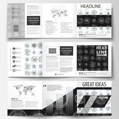Business templates for square tri fold brochures. Leaflet cover, flat layout, easy editable vector. High tech design, connecting system. Science and technology concept. Futuristic abstract background.