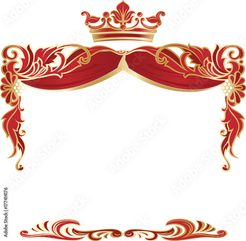 Elegant royal frame with crown isolated on white background.\