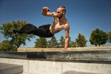 Young men freerunning