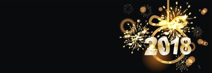 Banner zum Jahreswechsel mit Feuerwerk