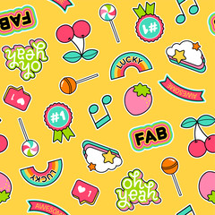 Colorful cute girls fashion patches icons seamless pattern background