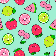 Cute tropical fruit cartoon illustration seamless pattern background