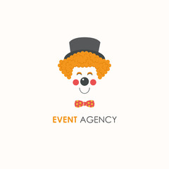 Smiling clown face line logo design template.