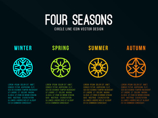 4 seasons icon sign in circle border line with Snow Winter , Flower Spring , Sun Summer and maple leaf  Autumn vector design Fotomurales