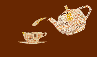 coffee design template, word cloud, coffee menu, free copy space, vector