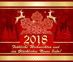 Corporate greeting card with German text. Text translation: Merry Christmas and a Happy New Year.