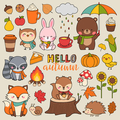 Set of cute woodland animals and autumn elements illustration.