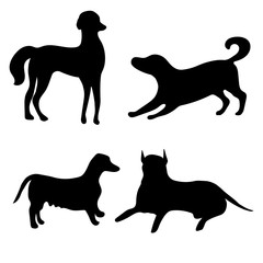 A set of dog isolated. Black silhouette of a dog on a white background. Collection of black icons of dogs. Vector illustration.