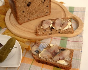 Delicious sandwiches with herring