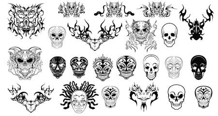 abstract skulls logos tattoos set