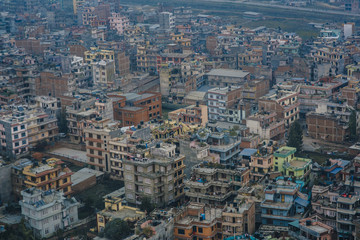 Aerial view of Kathmandu city in Nepal, Asia