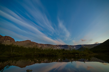 Aluminium Prints Reflection The sky with the stars at dawn, reflected in the water of a mountain lake.