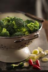 floret of broccoli in a colander