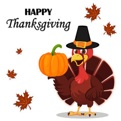 Thanksgiving greeting card with a turkey bird wearing a Pilgrim hat and holding pumpkin.