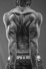 muscular black man with strong back