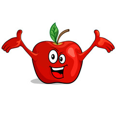 Cartoon happy apple character. Vector illustration for your design, print and internet.