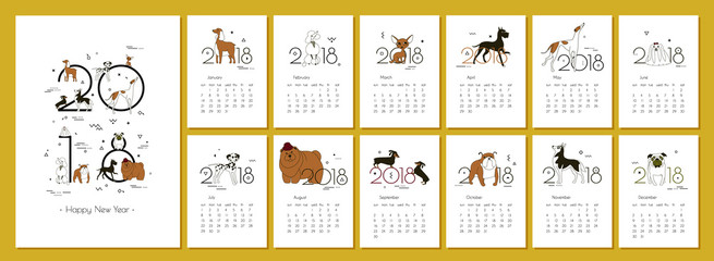 Monthly creative calendar 2018 with dog breeds. Concept, vector vertical editable template. Symbol of the year in the Chinese calendar. Minimalism. Isolated. Memphis. Vector illustration