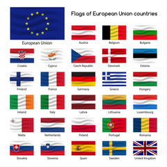 Set the flags of European Union countries, member states of EU, vector illustration isolated on white background.