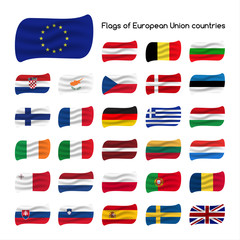 Set the flags of European Union countries, member states of EU, vector illustration isolated on white background