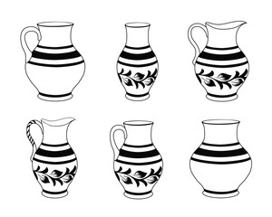 Set of ceramic crockery in black and white colors. Collection jugs in different variation. Rustic ceramic utensils, monochrome vector illustration for your design. Horizontal location.