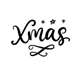Xmas brush calligraphy. Greeting card with Christmas ink lettering