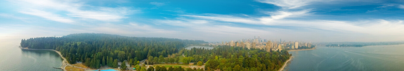 Panoramic aerial view of Stanley park and Vancouver cityscape, British Columbia - Canada